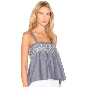 Current/Elliot The Smocked Chambray Tank S